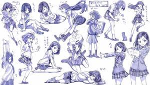 school girl draws