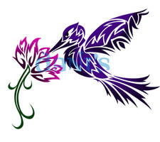 Humming Bird and Flower Tribal by white-tigress-12158