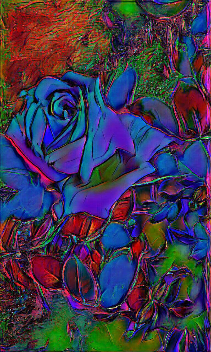 Prismatic Blue Rose
