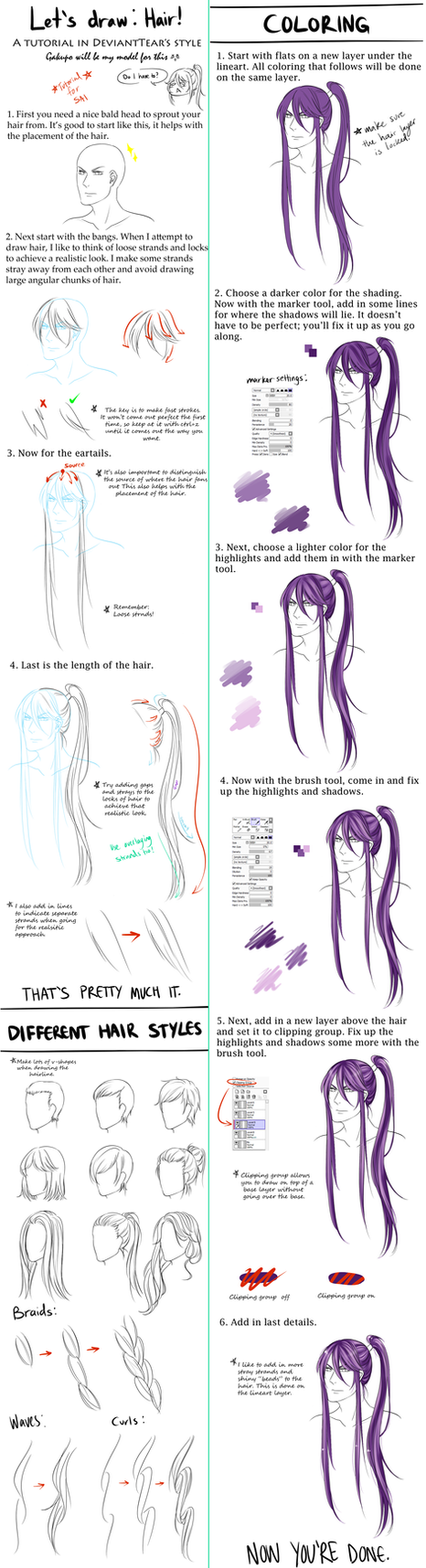 General Hair Tutorial by DeviantTear