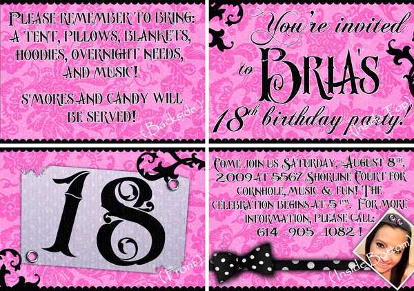 Brias 18th Birthday Invite By Two Players