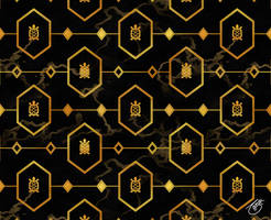 Gold Turtle Pattern on Dark Marble