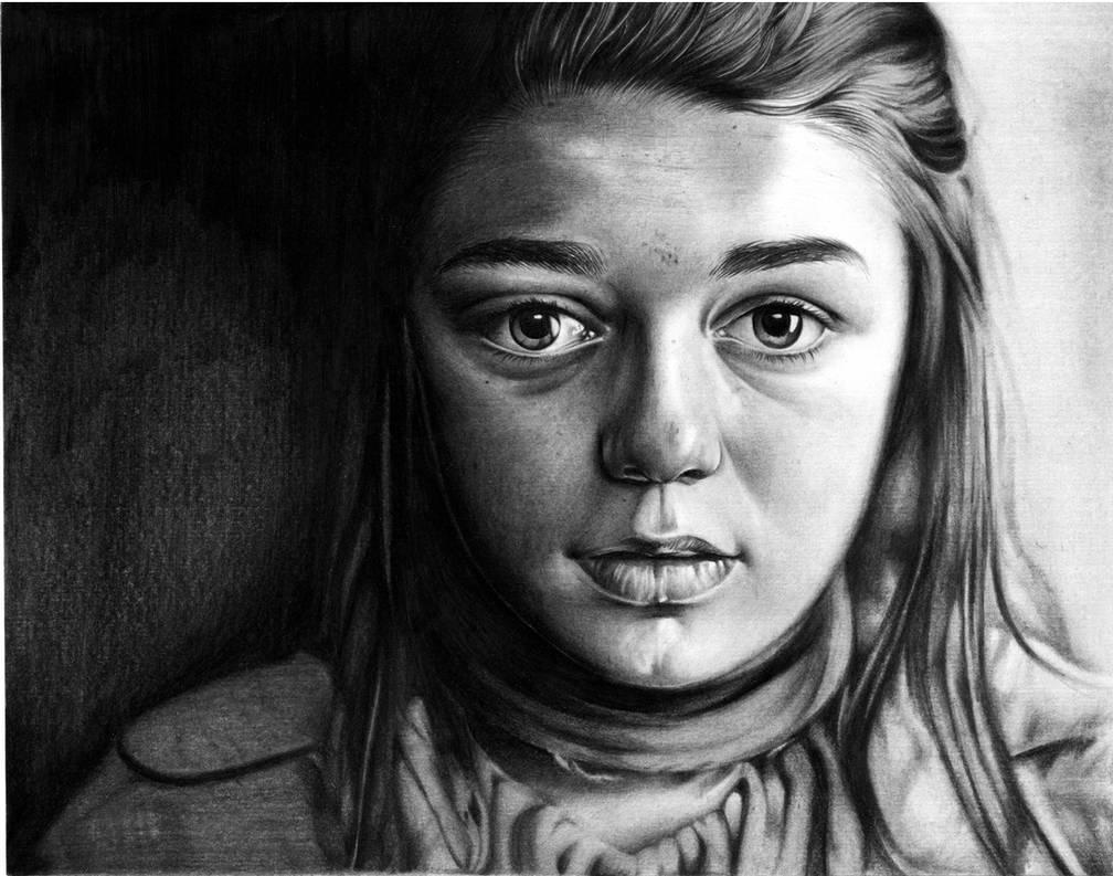 Arya Stark - GOT -  Portrait - Realism by detonatorkill