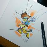 tai and agumon - watercolor
