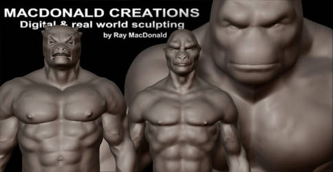 Digital and Real world male fantasy statues by macdonaldcreations