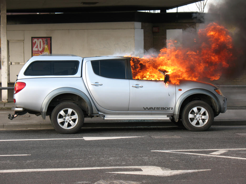 Burning car stock 1 by Random-Acts-Stock