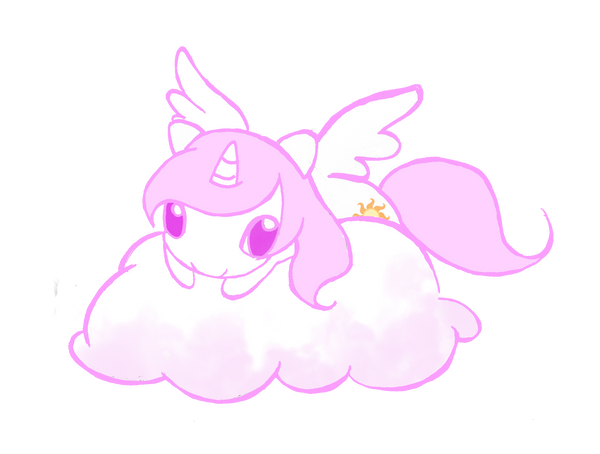 Little Celestia on Cloud by WingsOfImagination