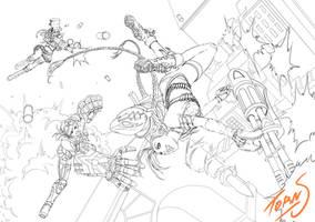 Line art Jinx Vi Caitlyn fanart by TORN-S