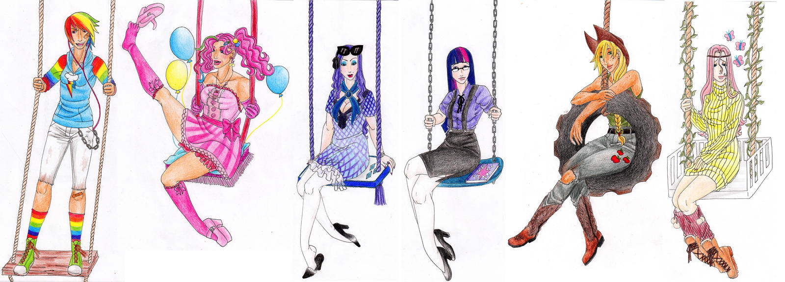 MLP:FiM - Human girls and their swings by AlexKingOfTheDamned