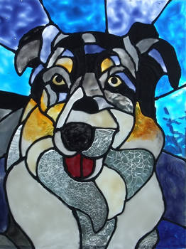 Painted Glass Australian Shepherd