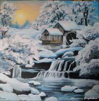 Moulin a eau sous la neige