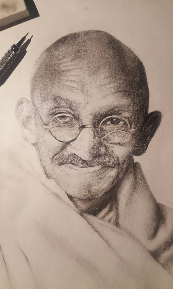 Drawing of mahatma gandhi by rileypitzen