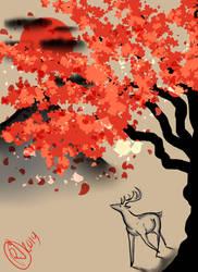 Deer Under Sakura by Umeko