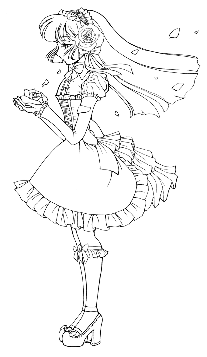 Gothic Lolita Line Art by sererena on DeviantArt