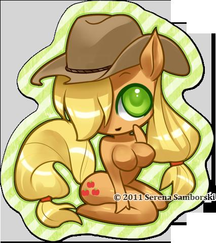 Chibi Pinup Pony AppleJack by sererena