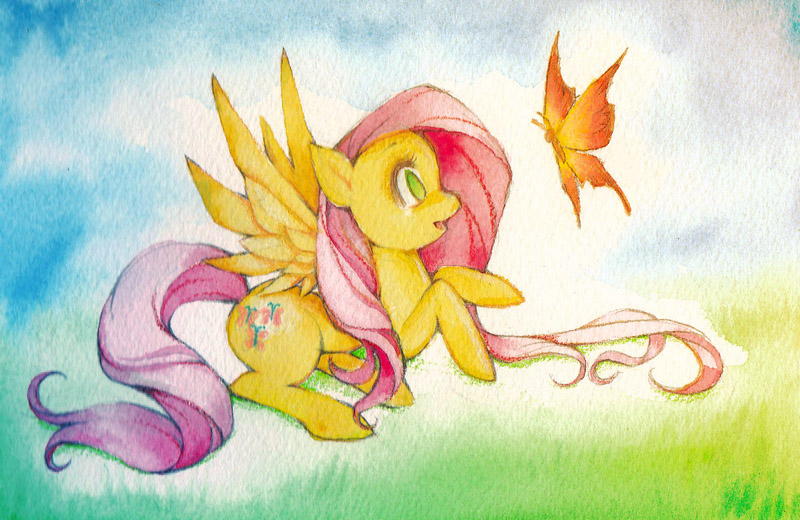 Fluttershy Painting by sererena