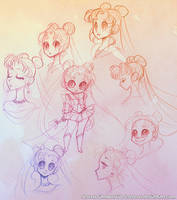 Sailor Moon Sketches by sererena