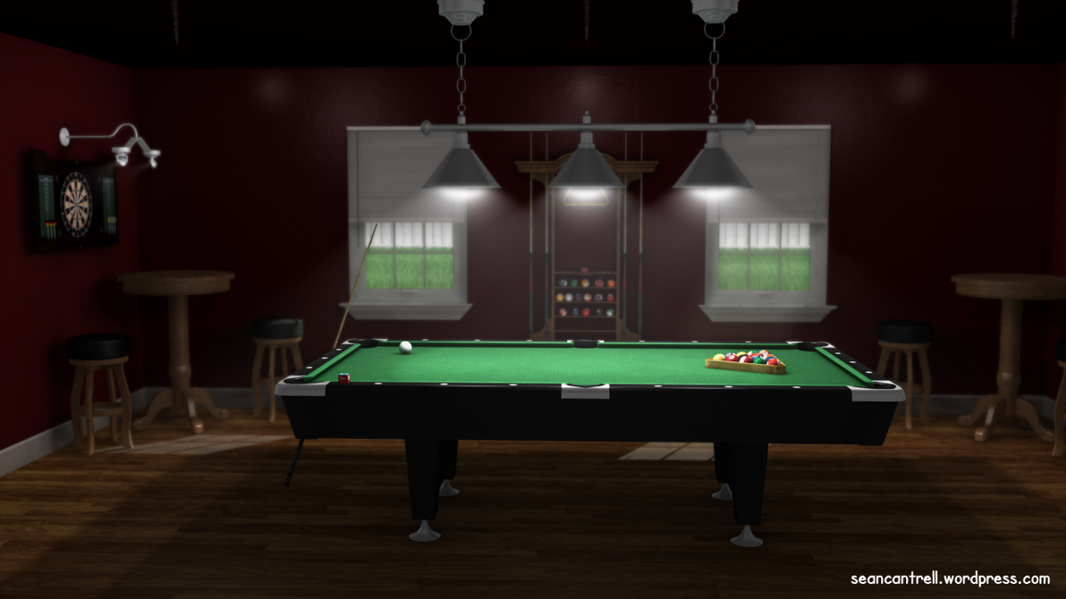 Pool table room by seancantrell on deviantart - Space needed for pool table ...