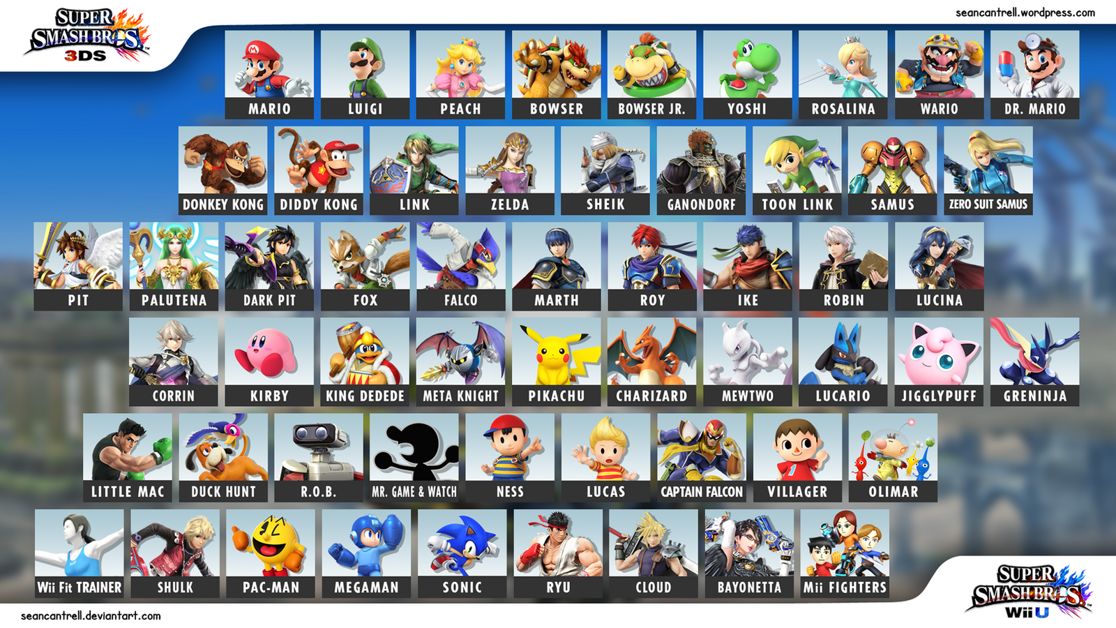 super smash bros wii u 3ds character selection by