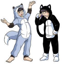 Foxymatsu and Kittymatsu ref by Fattlestacks