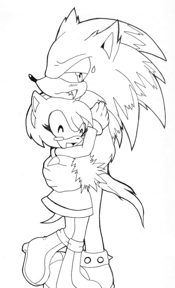 sonic the werehog coloring pages - amy and werehog inked sketch by mystic 12345 on deviantart