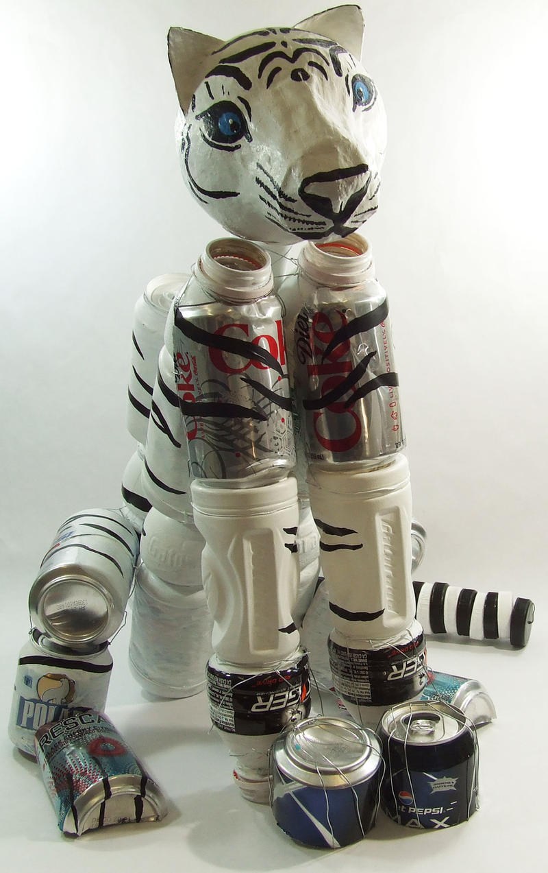 Tiger mother - recycled art project by MidnightTiger8140