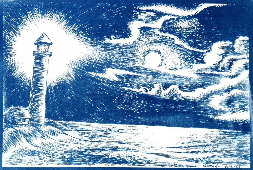 It was a dark and stormy night (cyanotype)
