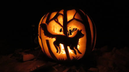 Running fox jack o'lantern by MidnightTiger8140