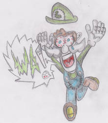 luigi is scared are you? in color by yoshizuyuner