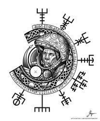 Norse Gagarin Tattoo by SethNemo