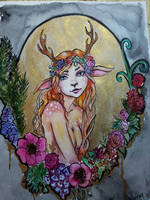 Inktober Day 9 : Fawn Girl by Wipaige