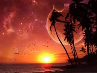 Setting Sun, Rising Moon by Succaxe