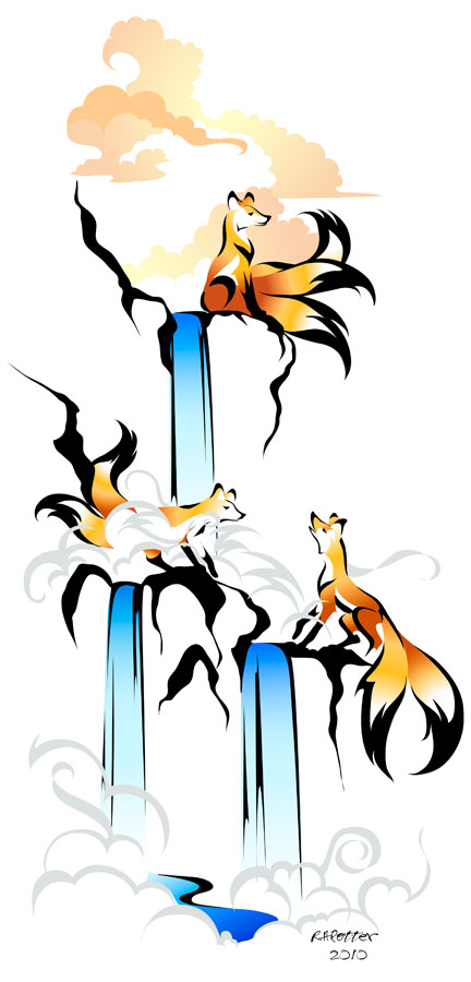 Kitsune Waterfall by RHPotter