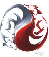 Yin Yang Kitsune by RHPotter
