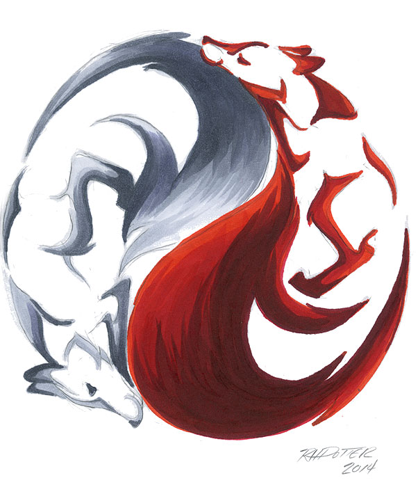 yin yang kitsune by rhpotter on deviantart. Black Bedroom Furniture Sets. Home Design Ideas