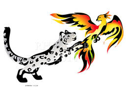 Snow Leopard and Phoenix by RHPotter