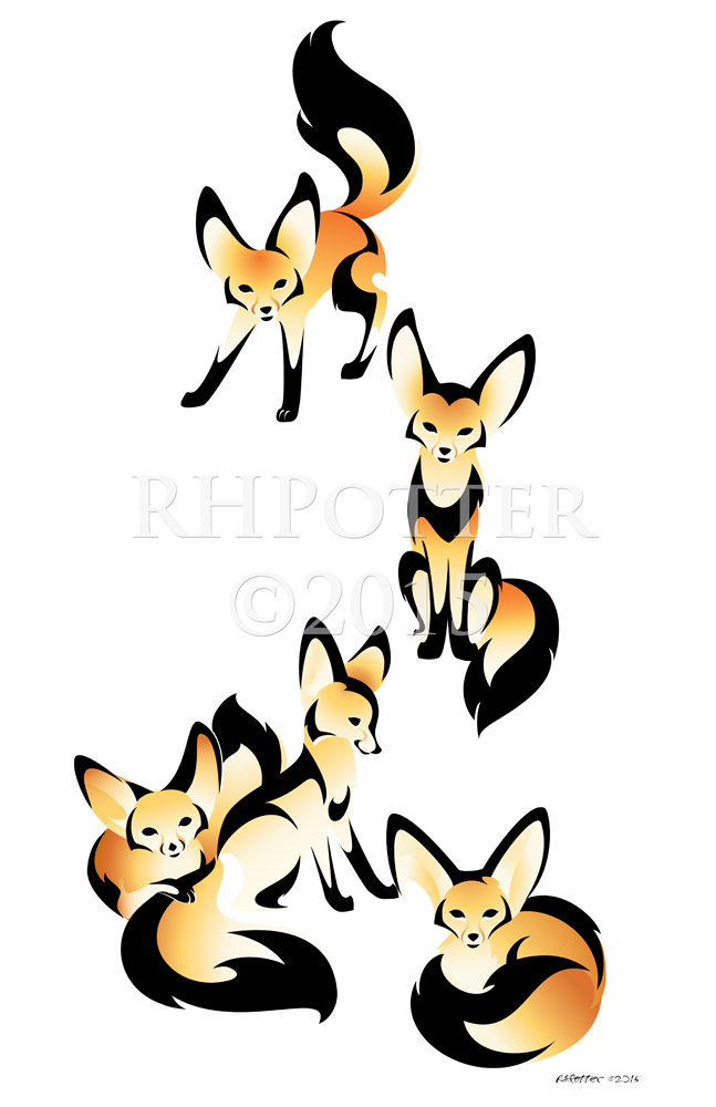 Fennec Family by RHPotter