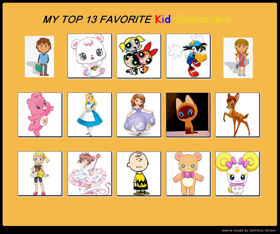 top 13 favorite kid characters by sararadisavljevic on deviantart