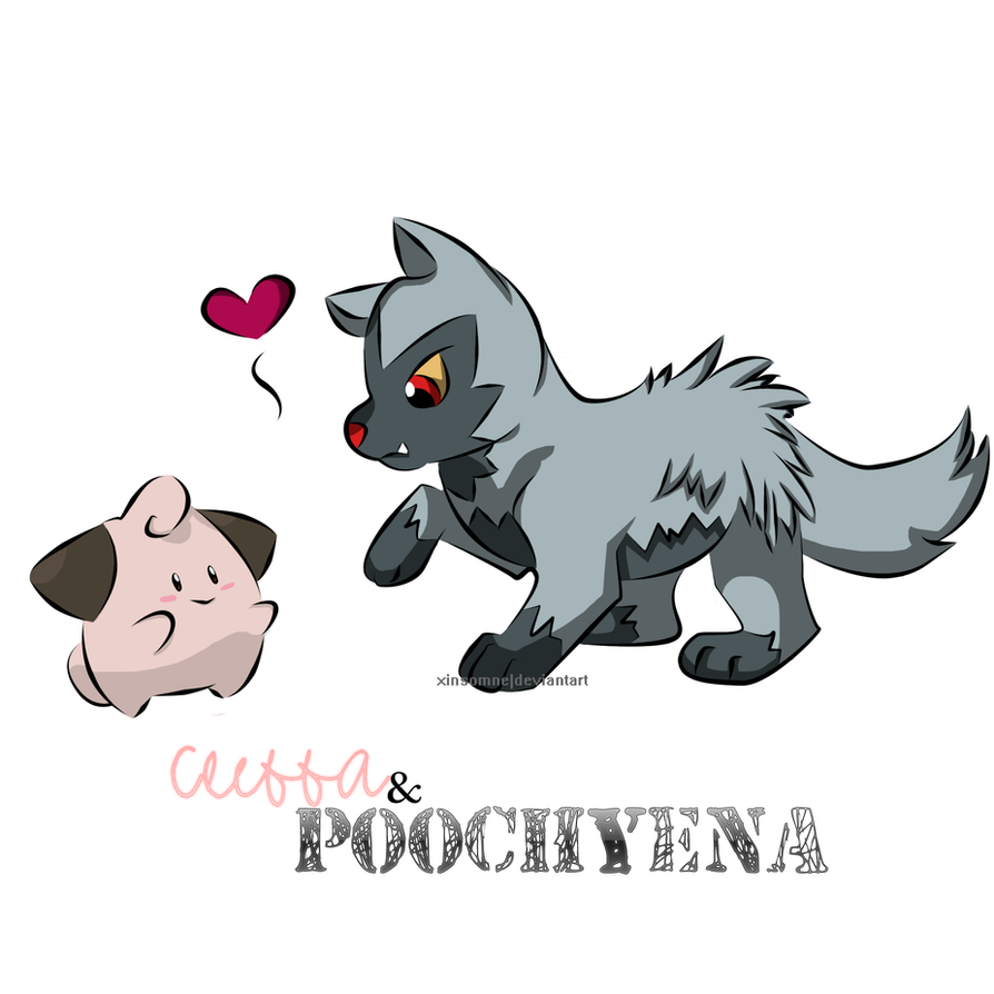 Cleffa and Poochyena | Pokemon ~ by xInsomne on DeviantArt