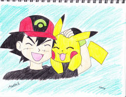 ash and pikachu by Yami-The-Orca