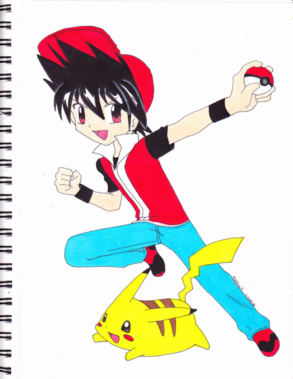 PKMN trainer red and pikachu by Yami-The-Orca on DeviantArt