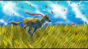 Running through sunny fields by Alukei