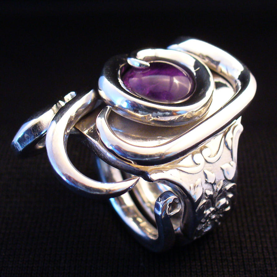 Freestyle Amethyst Fork Ring by forkwhisperer