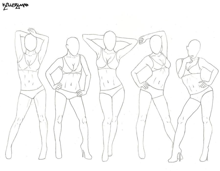 Line Drawing Female Body : Female poses by killer lamb on deviantart