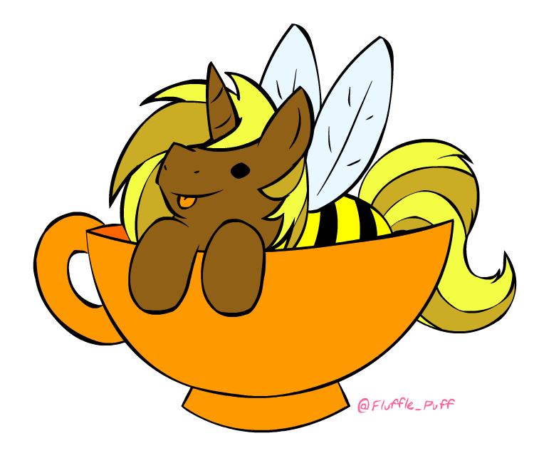 BrightFlame with a bee costume in a cup by Dragonisser