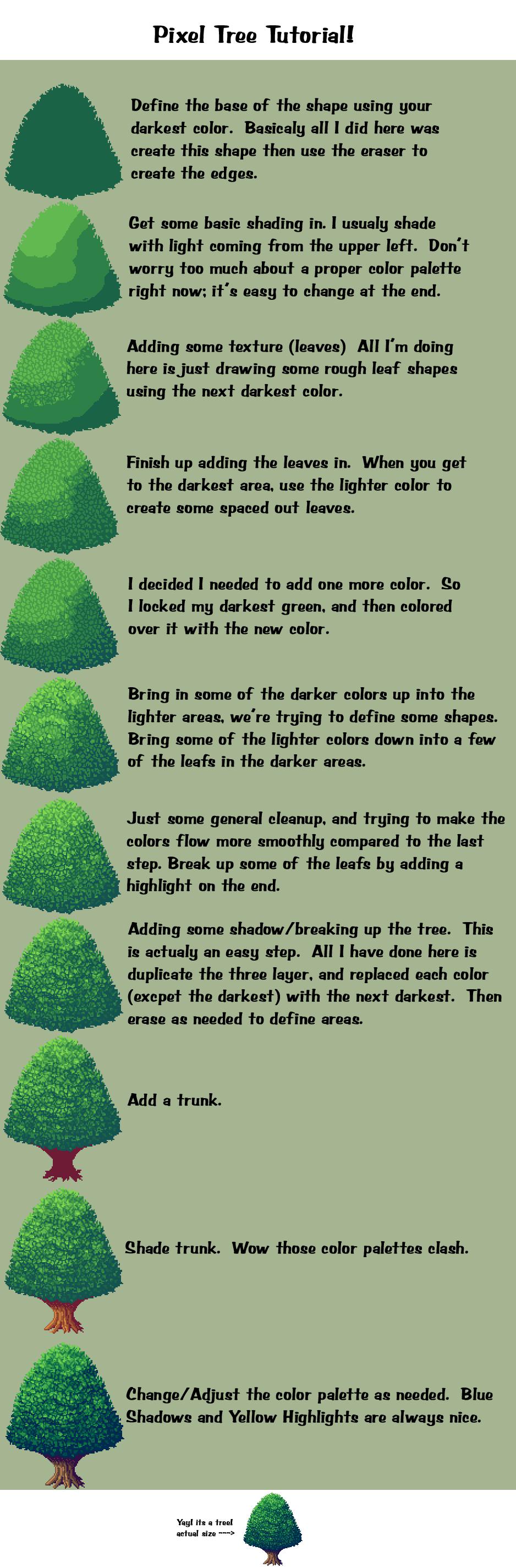 Pixel Tree Tutorial by D-e-n-a on DeviantArt