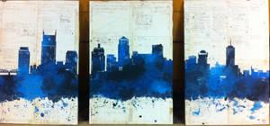 Nashville Cityscape (Blue) by ChibiStarChan