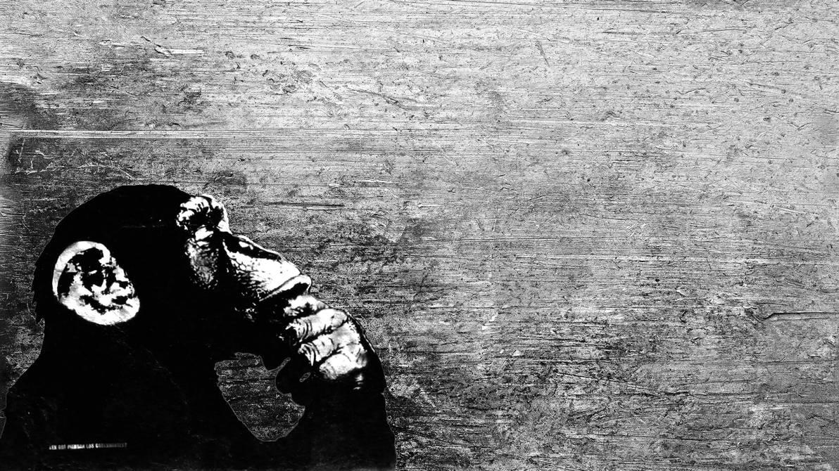 Thinking chimp by uNrealDrw0w