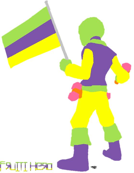 fruiti hero holding the fruiti pride flag by alespanda
