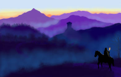 Witcher riding early misty morning by ThorntonGo